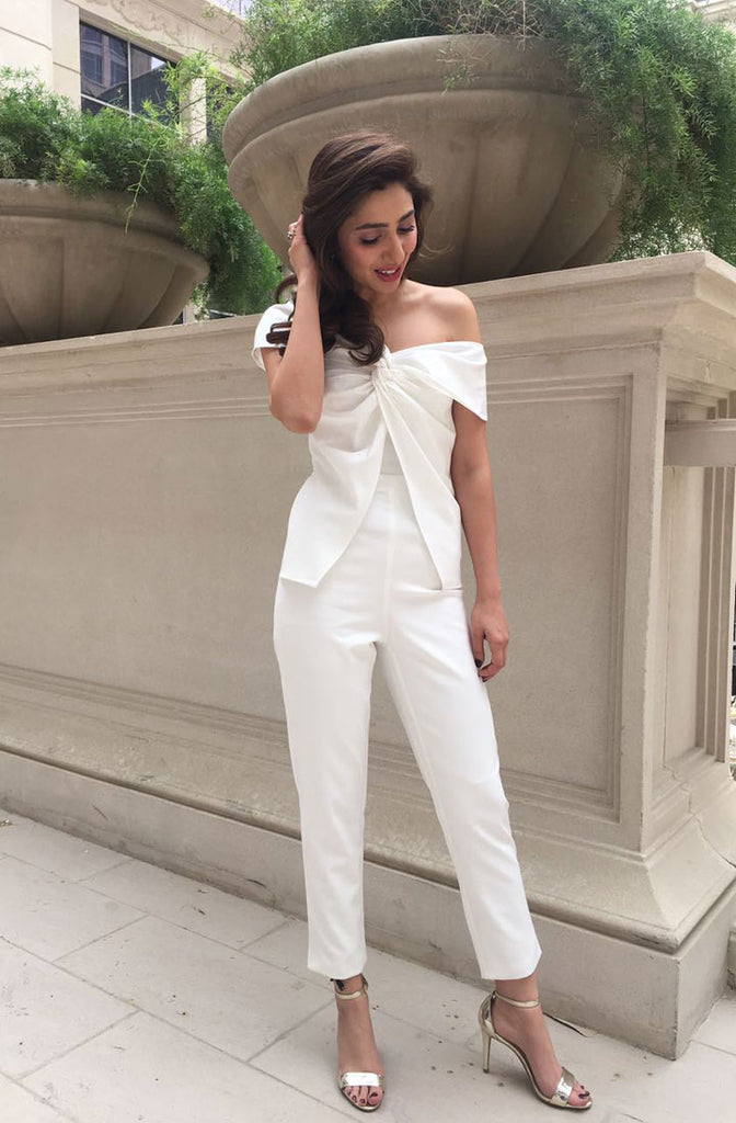 Pak Actress Mahira Khan in off-shoulder Lavish Alice White jumpsuit at Raees Movie Dubai Promotion