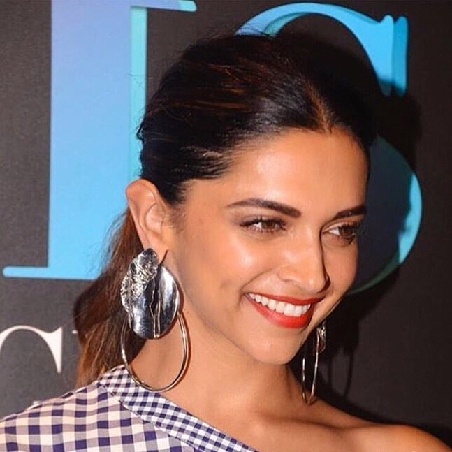 Deepika Padukone in Rosetta Getty's Gingham Print One Shoulder Dress