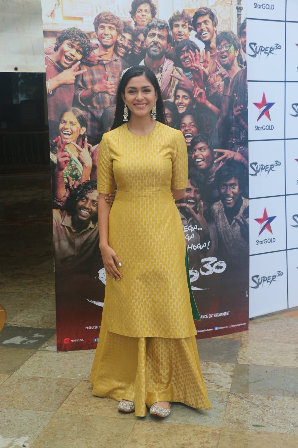 Mrunal Thakur in Mustard Yellow Long Kurta With Skrit