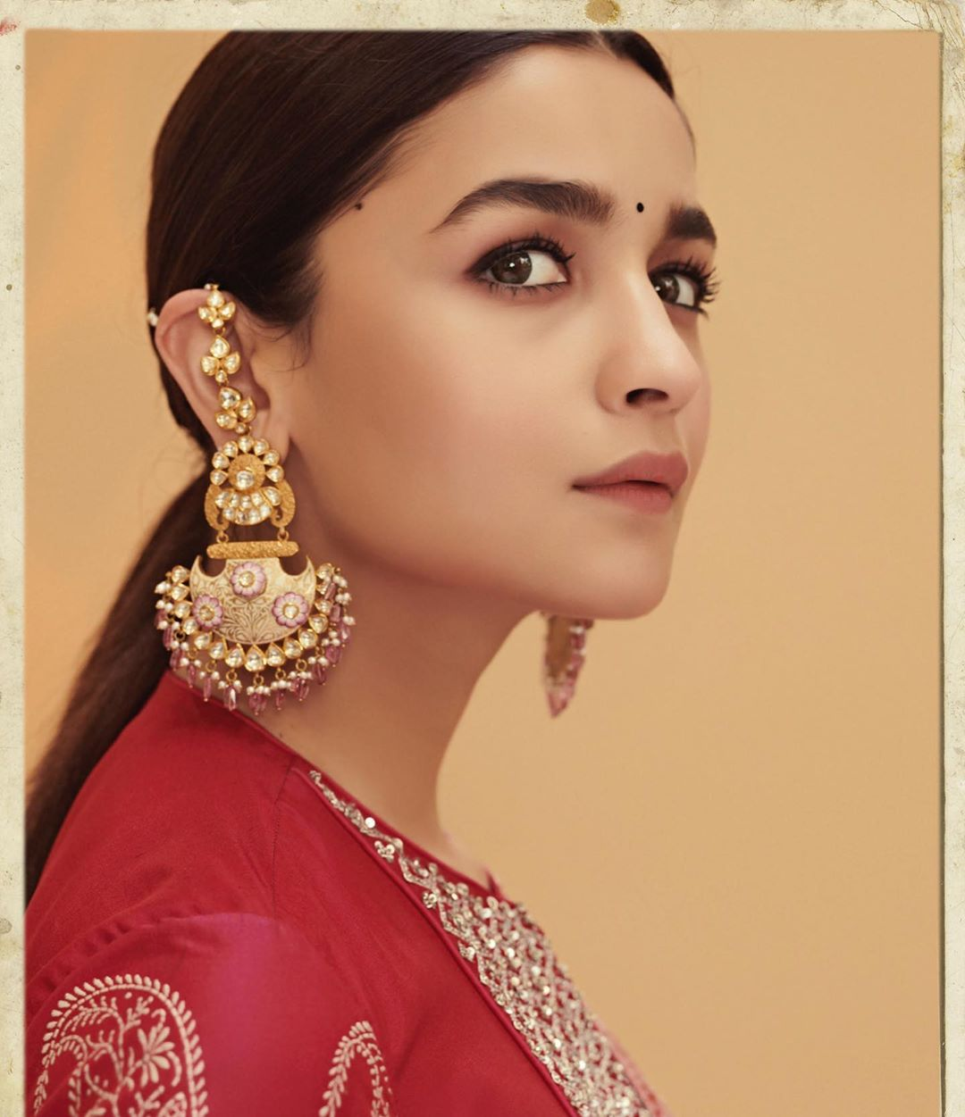 Alia Bhatt in Red Palazzo Suit With Printed Dupatta