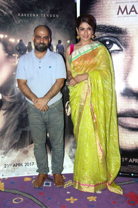 Raveena Tandon  in a lime green saree with gold zellige print from Madhurya creations at the trailer launch of her upcoming film, 'Maatr' at an event held in Mumbai