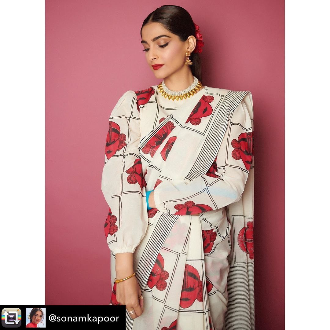 Sonam Kapoor in Printed Designer Saree