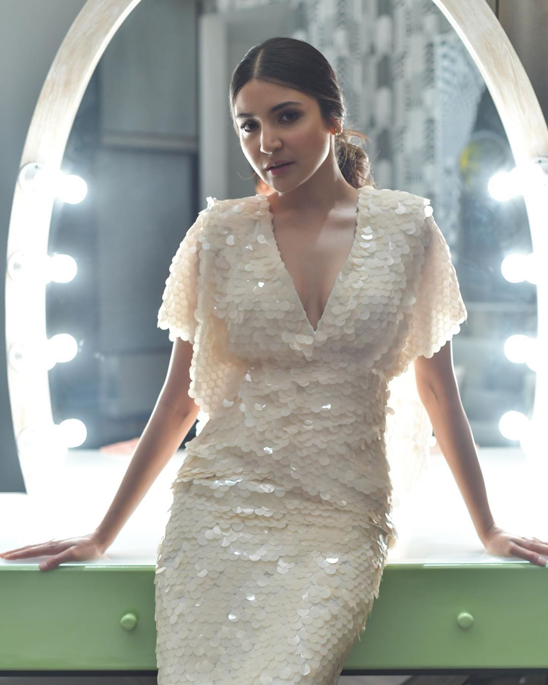Anushka Sharma in a White Sequined Dress