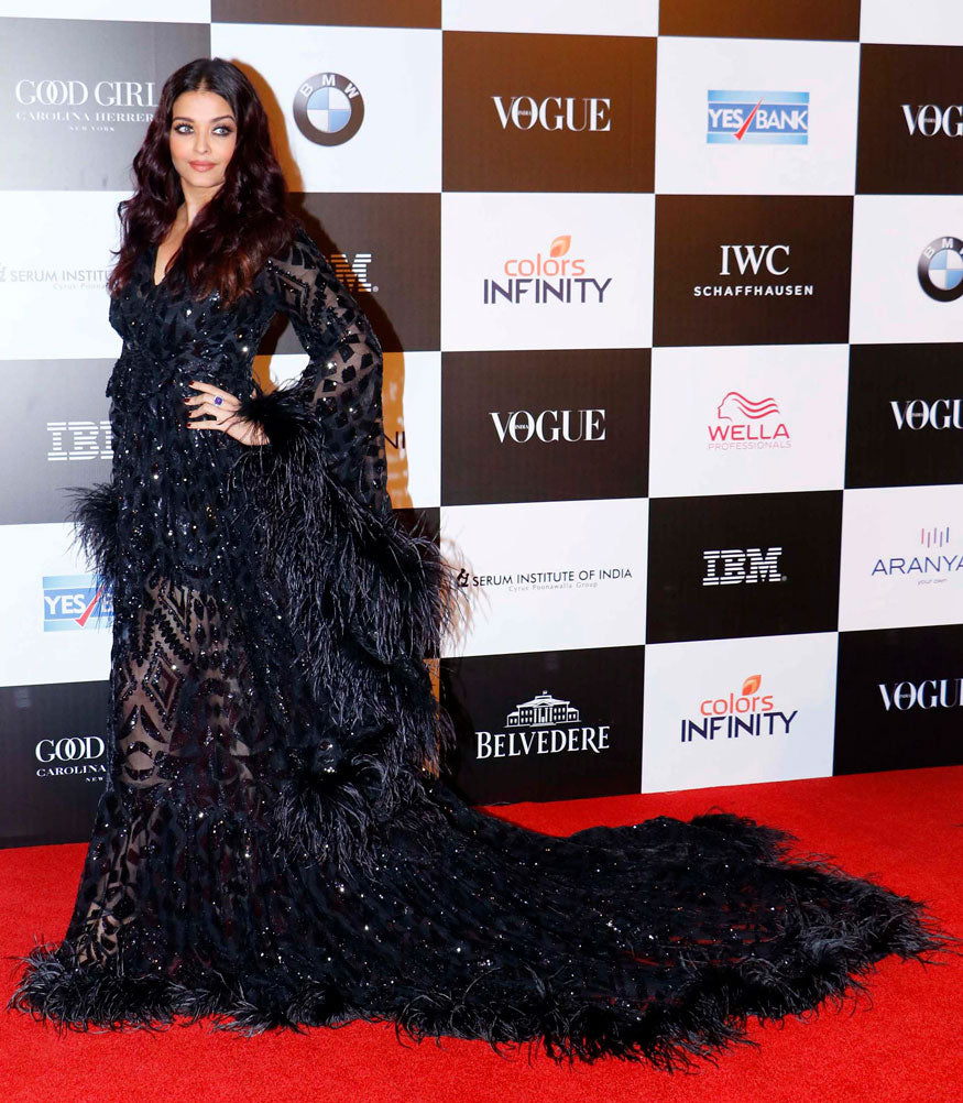 Aishwarya Rai spelt black magic in her all-black sequined feather gown