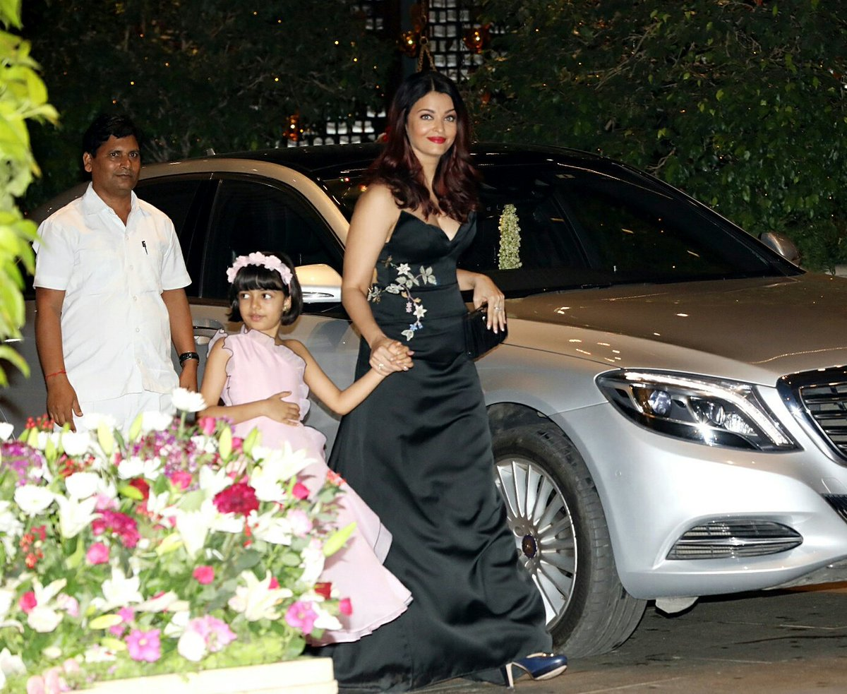 Aishwariya Rai Bachchan With Her Cute Daughter Aradhya Get Clicked At The Engagement Bash of Aakash Ambani & Shloka Mehta's Yesterday In Mumbai.