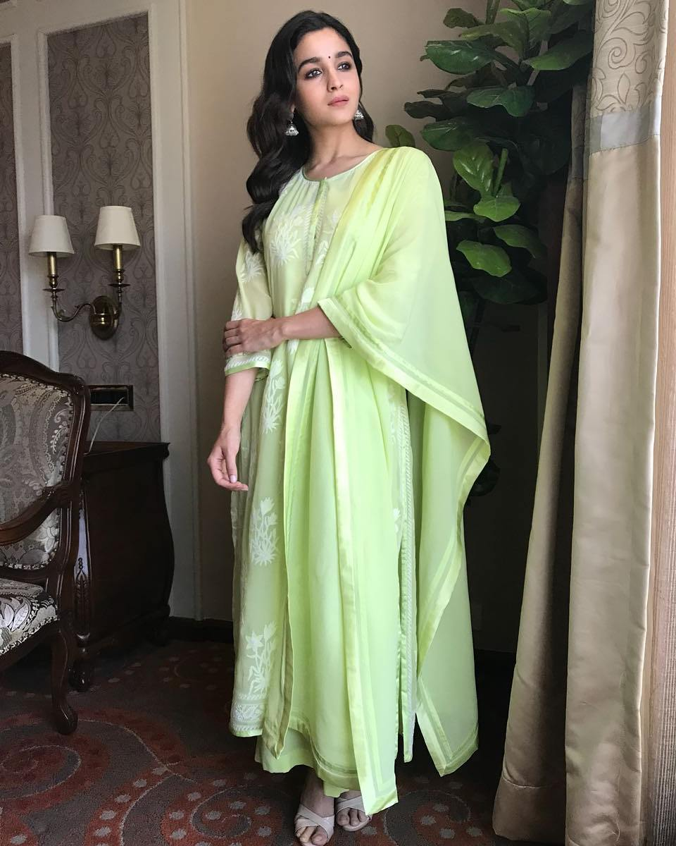 Alia Bhatt Dressed in A Lime Green Palazzo Salwar Suit By Abu Jani and Sandeep Khosla