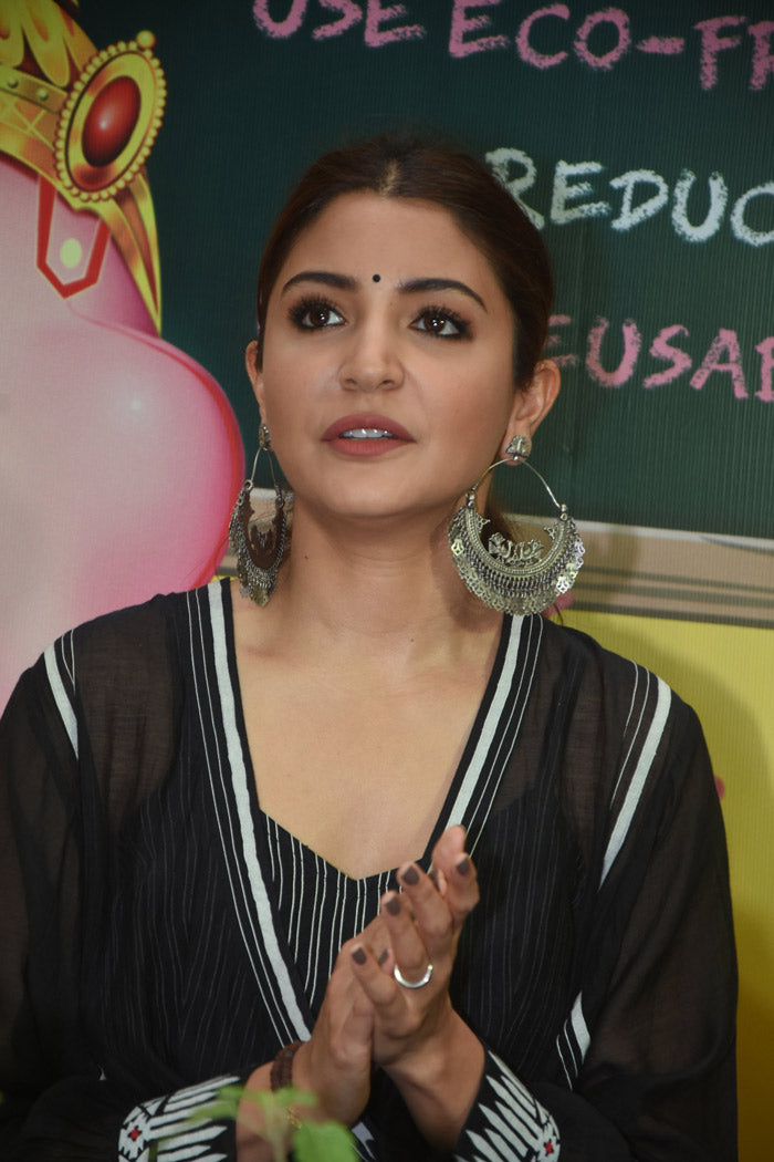 Anushka Sharma in Ragini Ahuja's Black Wrap Around Kurta Plazzo Set