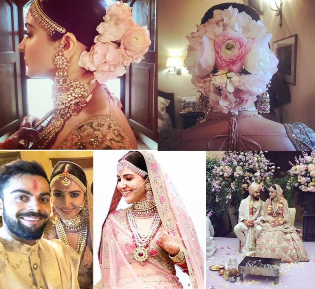 Anushka Sharma Looked Royal in Pink Floral Lehenga By Sabyasachi
