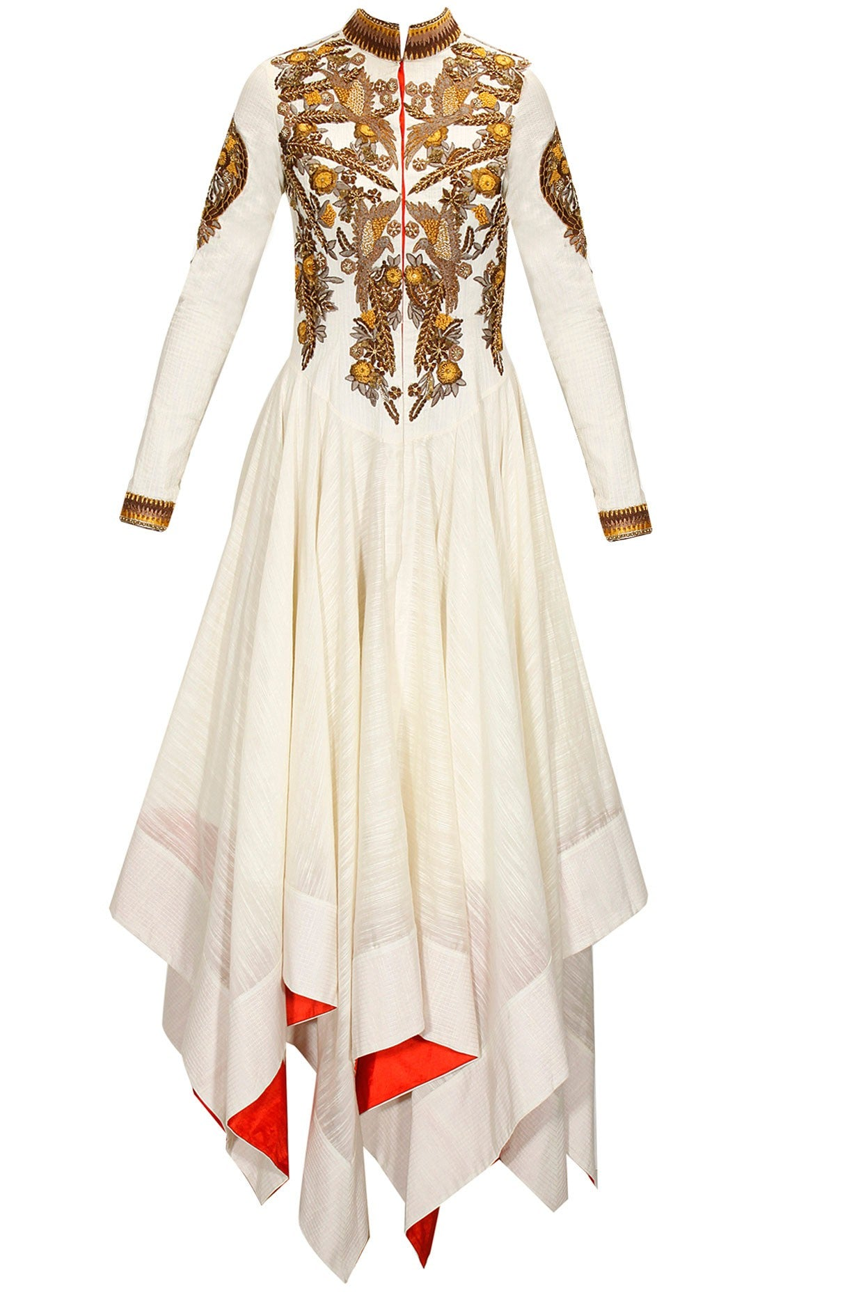 Asymmetrical-white-golden-work-Cotton-Anarkali-Kurta
