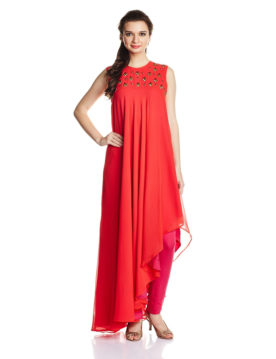 Asymmetrical-hemline-red-color-Cotton-Anarkali-Kurta