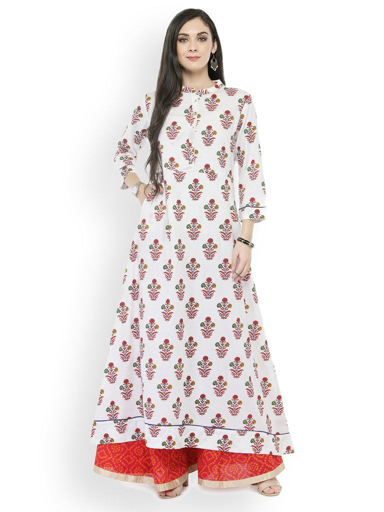 White Floral Printed Long Kurta with Palazzos