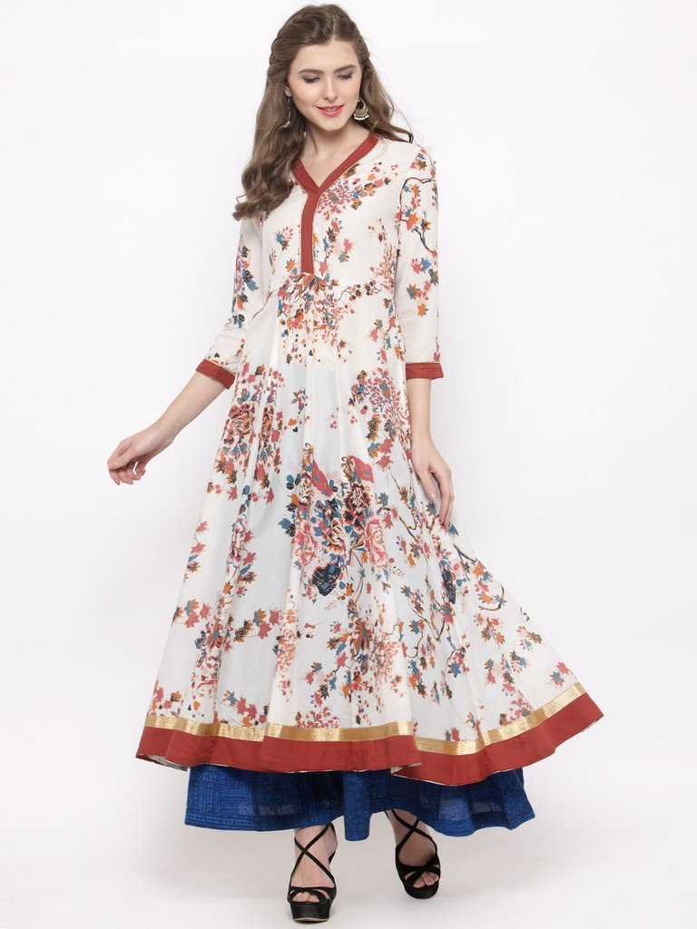 Floral Printed Anarkali Cotton Kurta