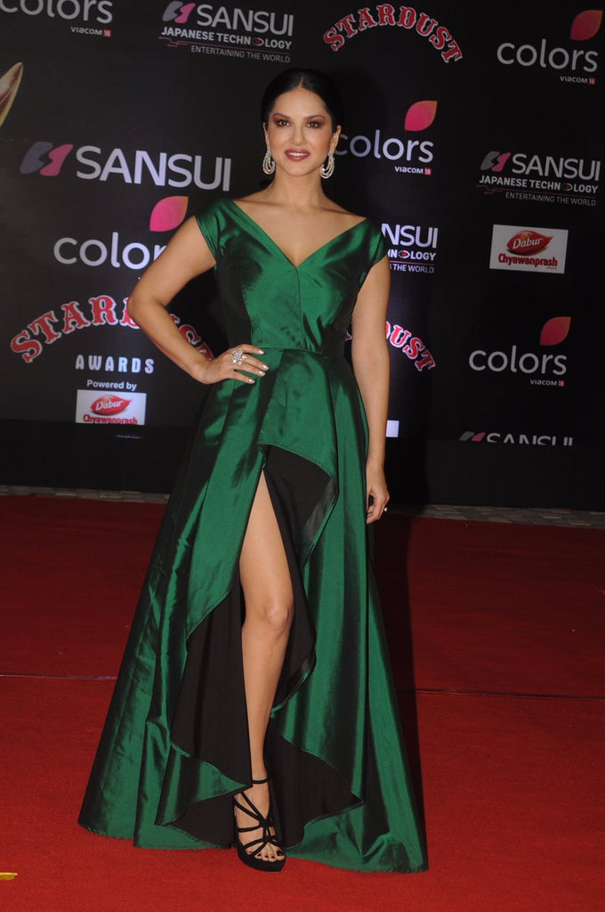 Sunny Leone S Green Long Slit Gown Has Got Our Attention