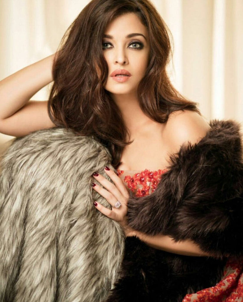 Aishwarya rai bacchan in designer western wear fur jacket with gown for Femina photoshoot