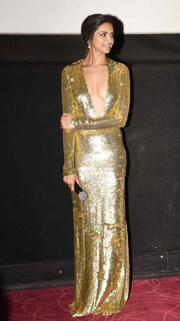 Deepika Padokone looking So Hot in Golden Dress.