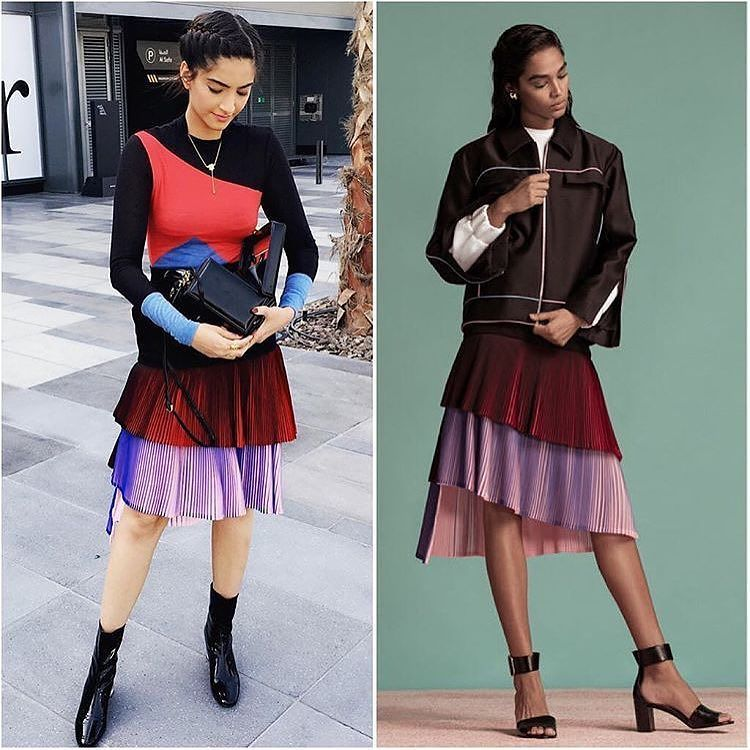 Sonam kapoor in miuniku's designer multicolored western wear skirt style dress in Dubai