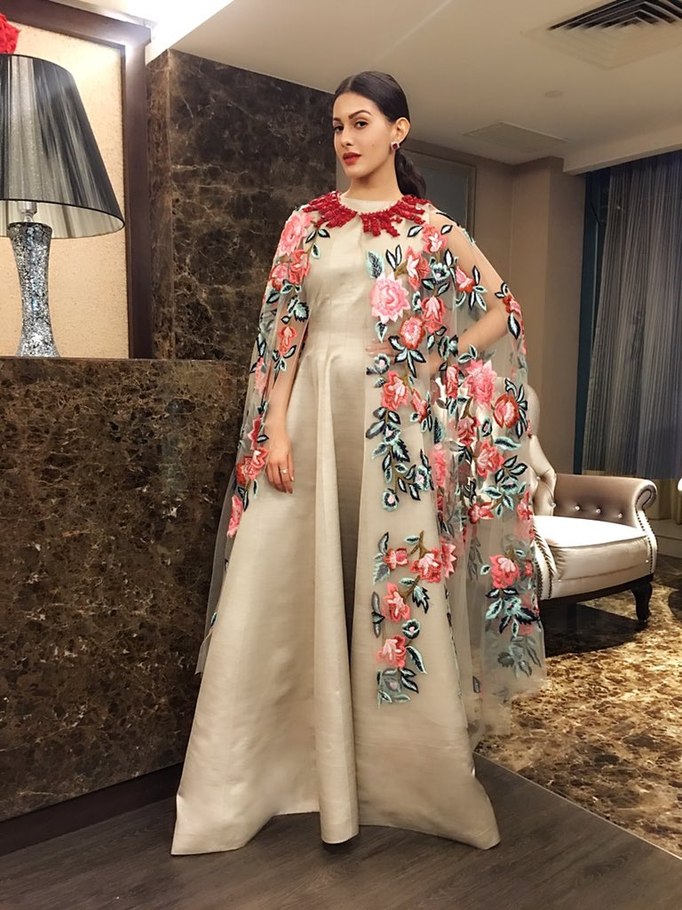 Amyra Dastur in manish malhotra's designer LONG GOWN DRESS with printed cape AT Kung Fu Yoga Promotion