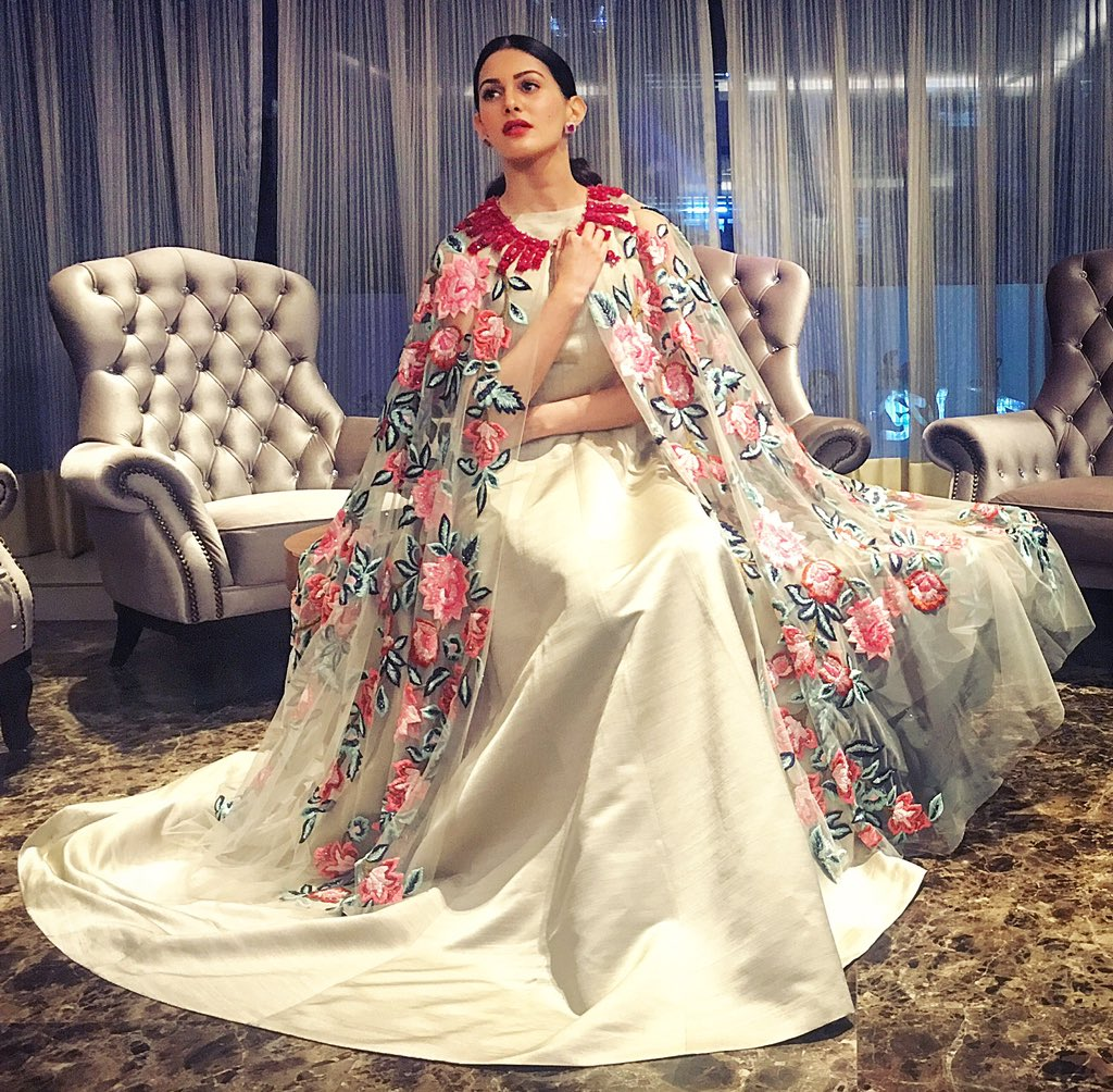 Amyra Dastur in fashion designer manish malhotra's designer LONG dress with printed cape