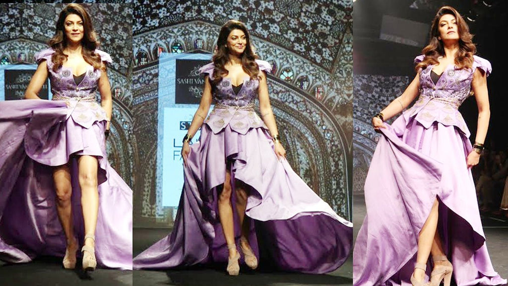 Suhsmita Sen looked Pretty in majestic purple gown at Lakme Fashion Week 2017!
