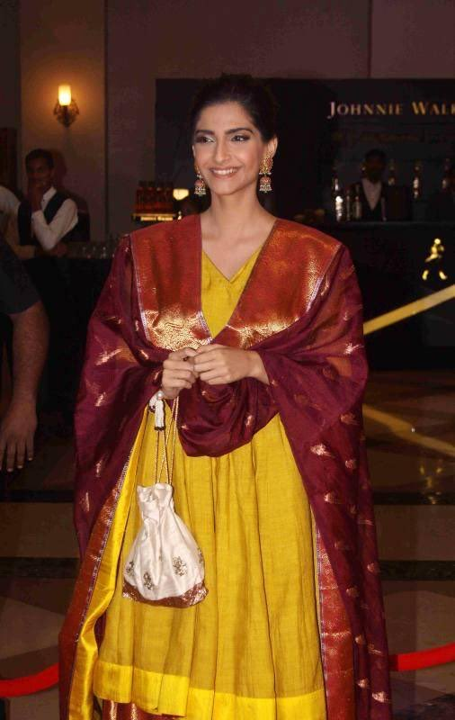 Sonam Kapoor in Gaurang Shah Fashion Designer Long Anarkali Banarasi Silk Suit with ghagra & duptta