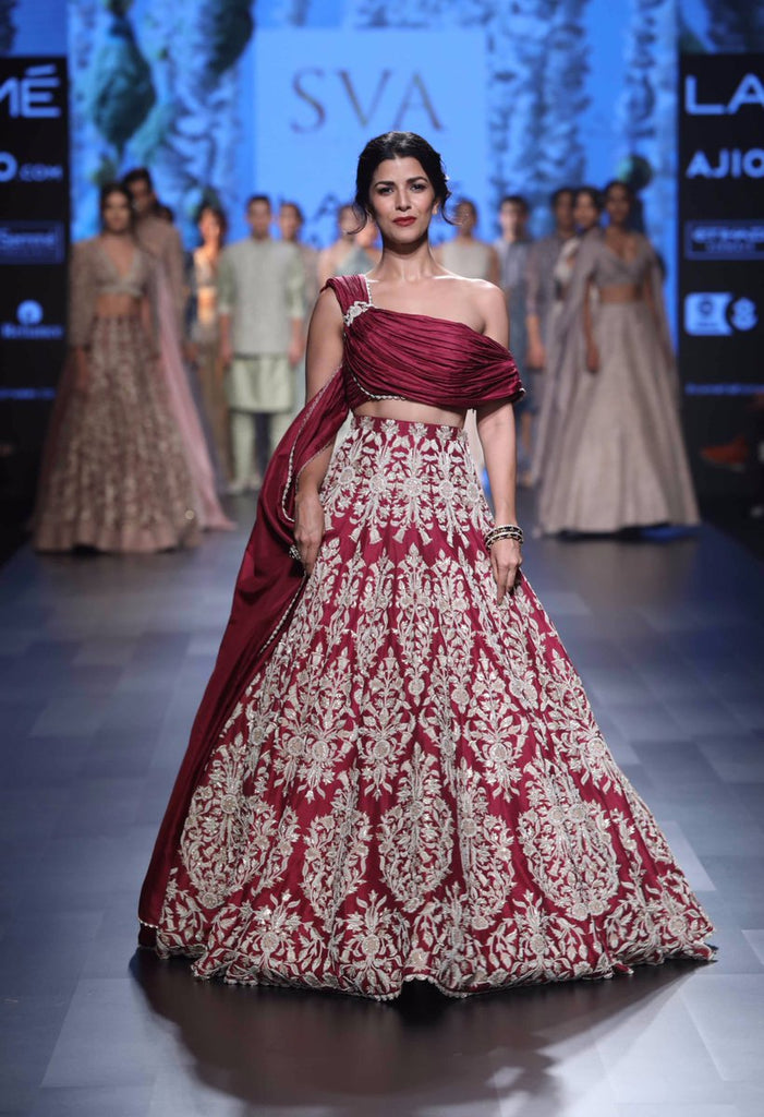 Nimrat Kaur looks regal in red embroidered lehenga choli by Sonam & Paras Modi at lakme fashion week 2017