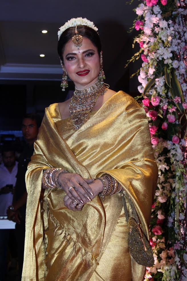 Rekha in pretty golden Kanjeevaram Saris at Neil Nitin Mukesh's Wedding Reception