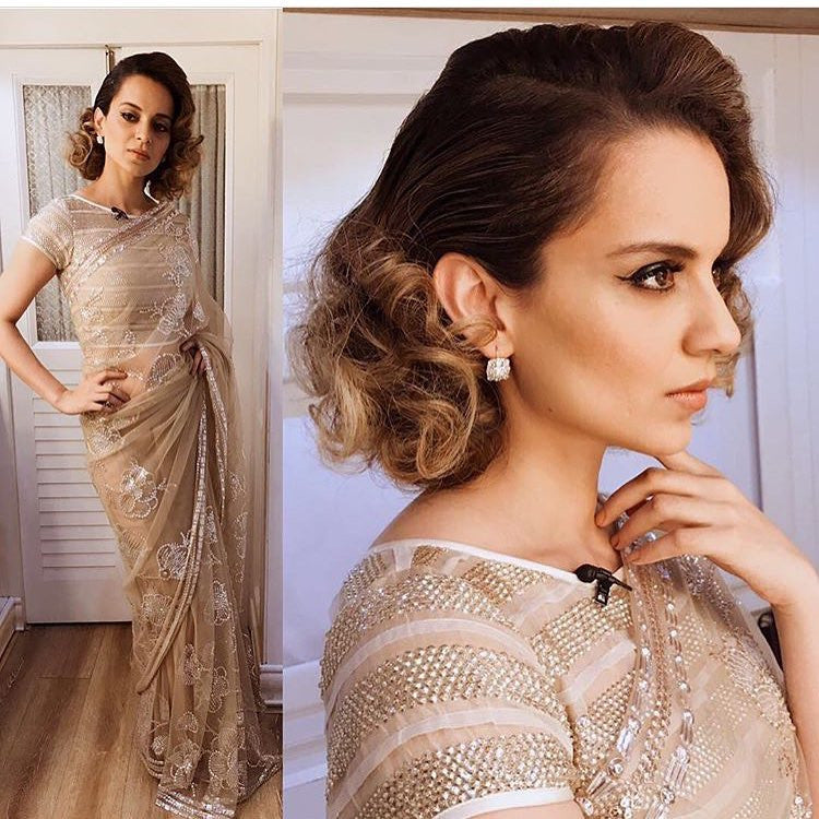 Kangana Ranaut in Abu Jani Sandeep Khosla's designer saree at Rangoon Promotion at Kapil Sharma Show
