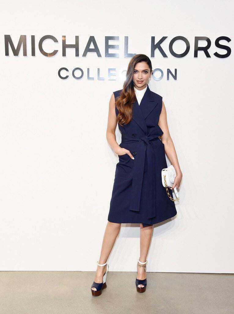 Deepika Padukone in Michael Kors Spring 2017 collection navy blue trench dress