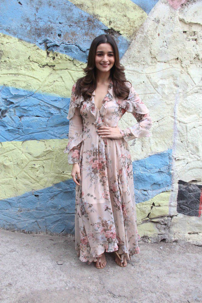 Alia Bhatt in designer georgette printed maxi dress at Movie Promotion