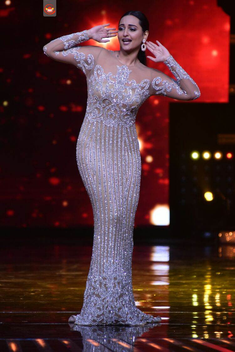 Sonakshi Sinha In Silver Embellished Gown By Yousef Aljasemi