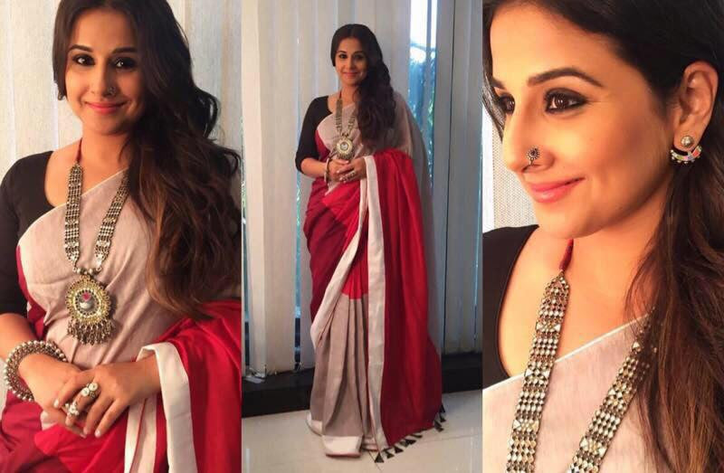 "Vidya Balan In UDD Designer Red And Grey Saree At ""The Begum Jaan Promotion Event"""