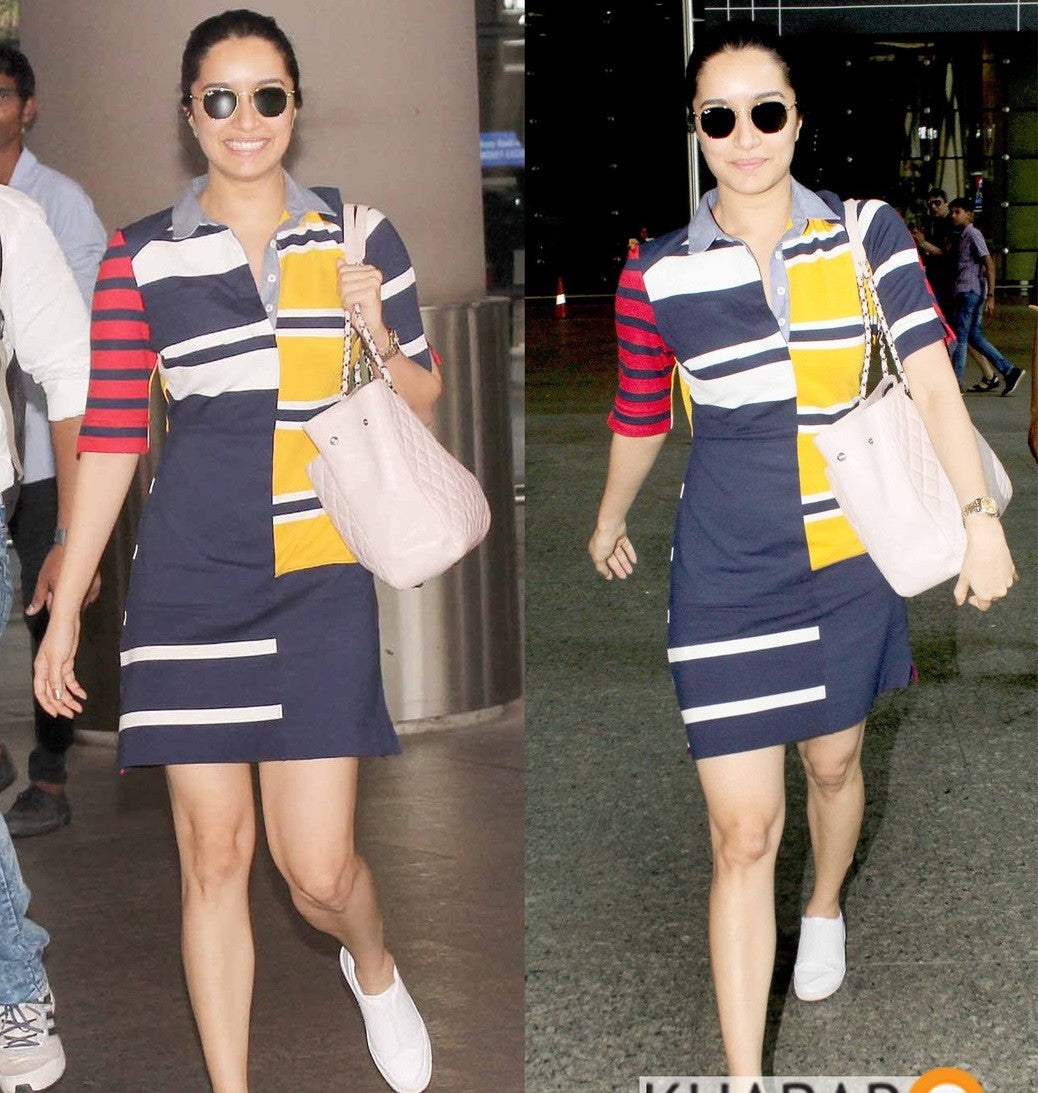 Shraddha Kapoor in a striped and color block dress by Gigi Hadid x Tommy Hilfiger dress from their Fall 2017 collection