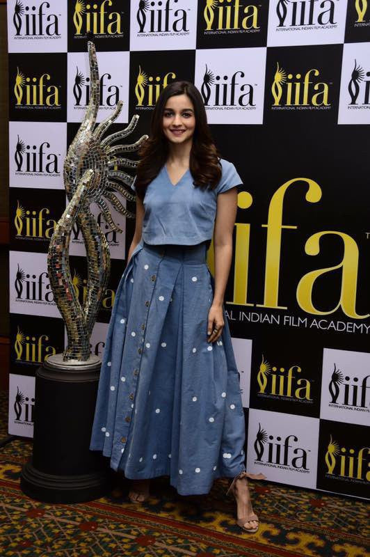 Alia Bhatt in Designer denim dress from house of masaba