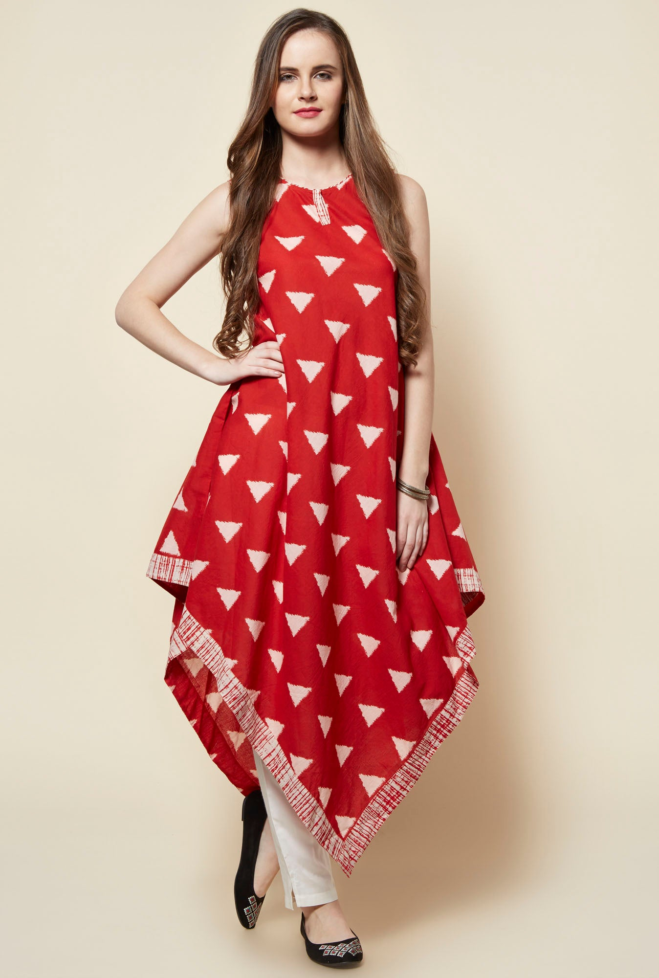 Asymmetrical-red-Cotton-Anarkali-Kurta