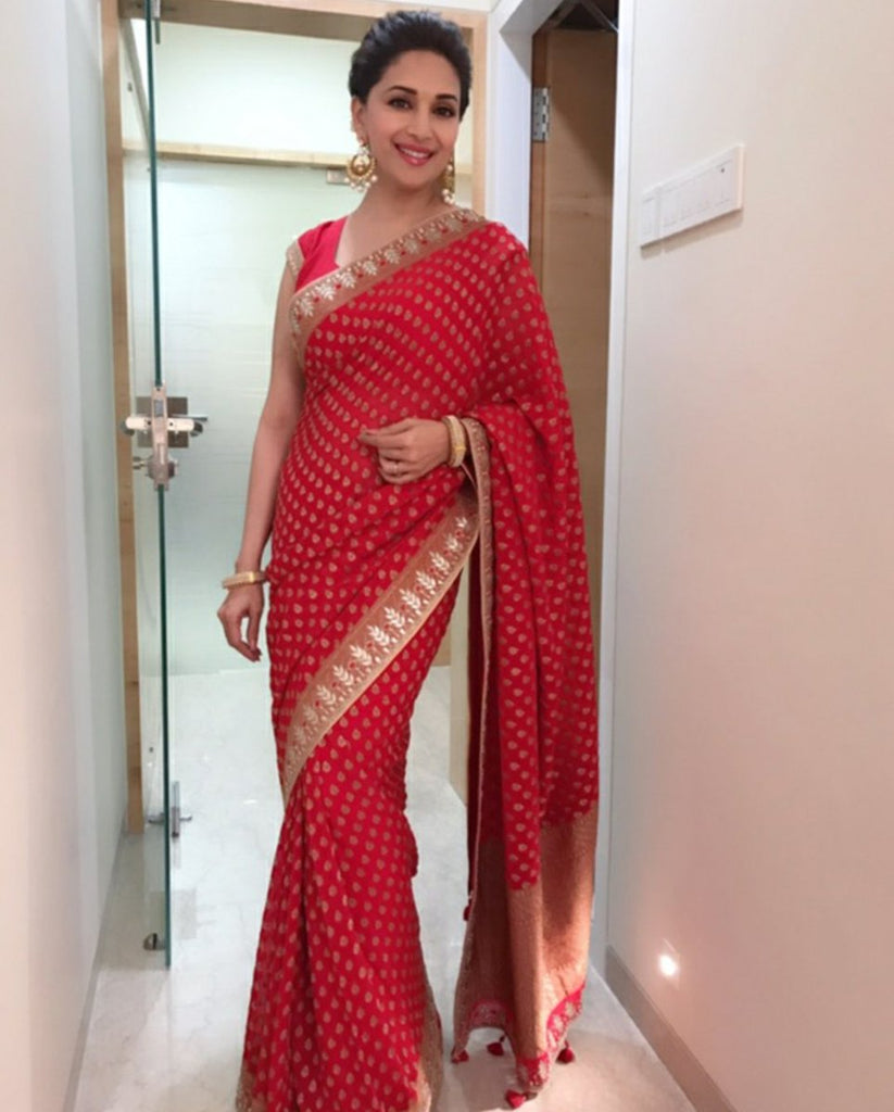 madhuri-in-designer-red-saree