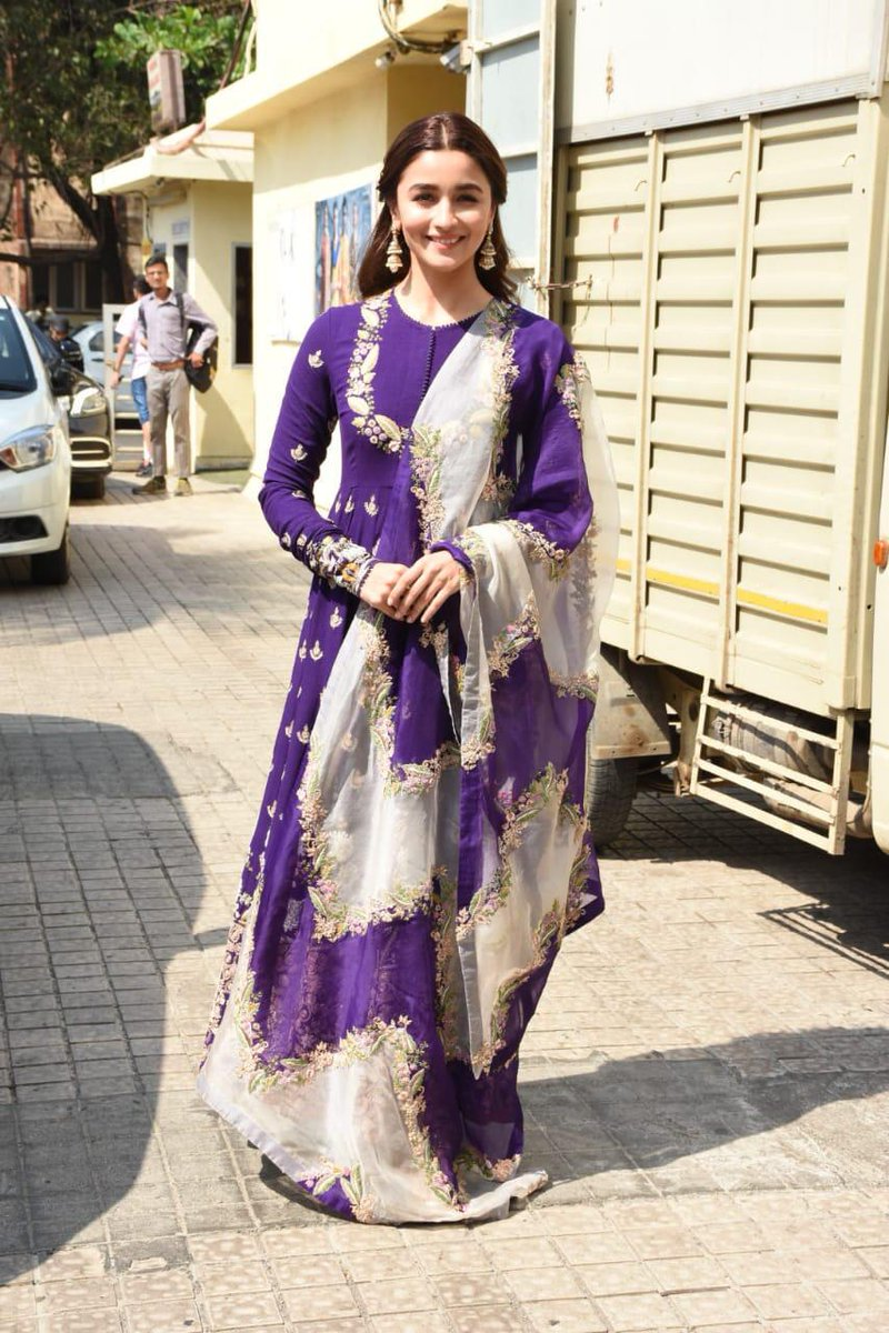 Alia Bhatt in Floor Length Purple Embroidered Anarkali Suit by Anamika Khanna