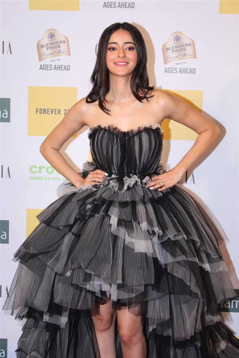 Ananya Panday  in a Black Ruffled Gown by Galia Lahav