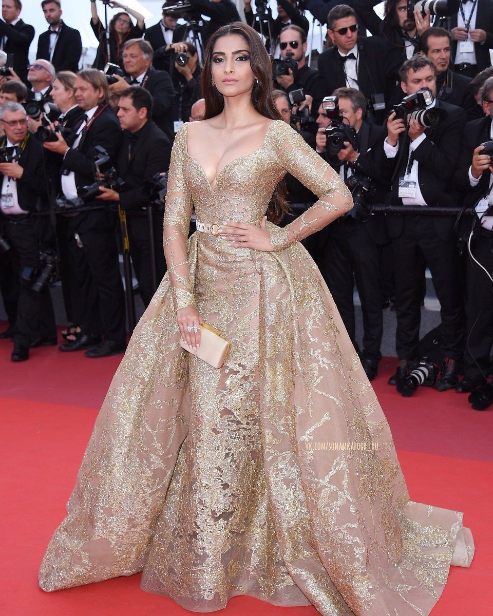 Sonam Kapoor in Elie Saab Couture's Golden Dress Gown At Cannes Film Festival 2017