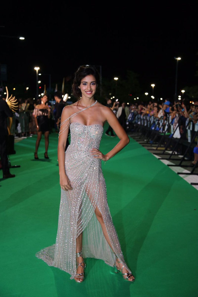 Disha Patani In Falguni & Shane peacock floor length shimmery gown.