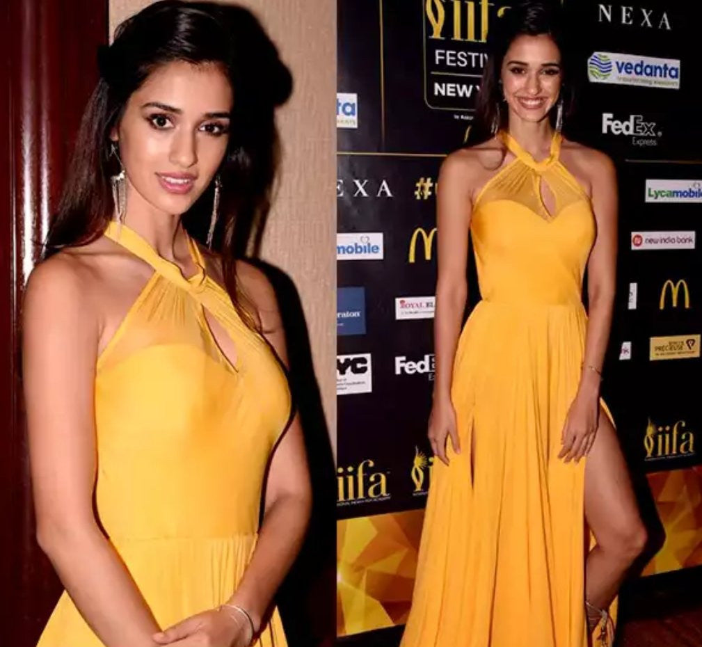 Disha Patani in Thigh High Slit Swapnil Shinde's Yellow Gown