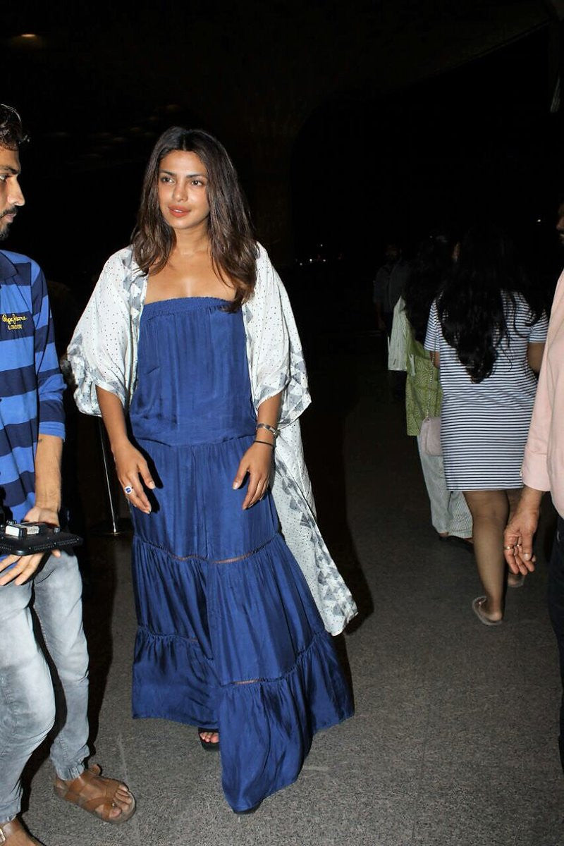 Priyanka Chopra Looked Splendid In Maxi Dress From Turquoise And Gold & Bungalow 8