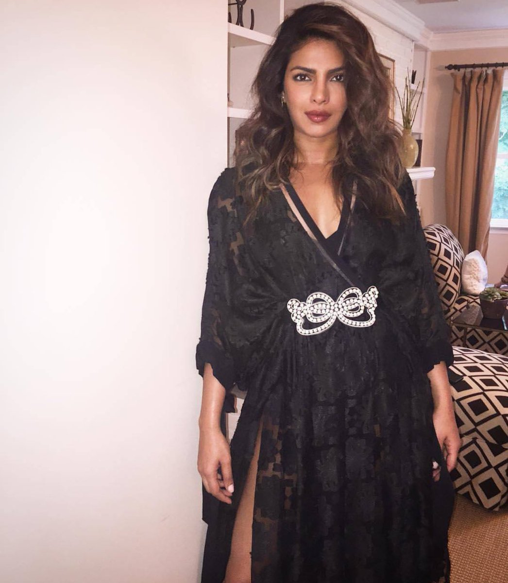 Priyanka Chopra Looked Breathtaking in Black Sexy Dress