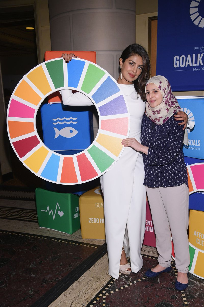 Priyanka Chopra looked beautiful in her white long-sleeved gown at The Goalkeepers Global Goals Awards held on Tuesday night in New York City