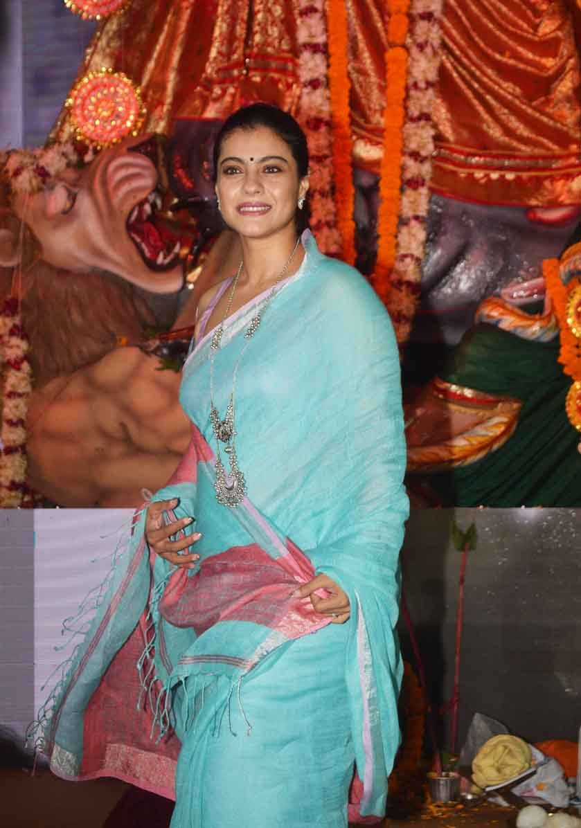 Kajol in Saree At Durga Pooja Festival