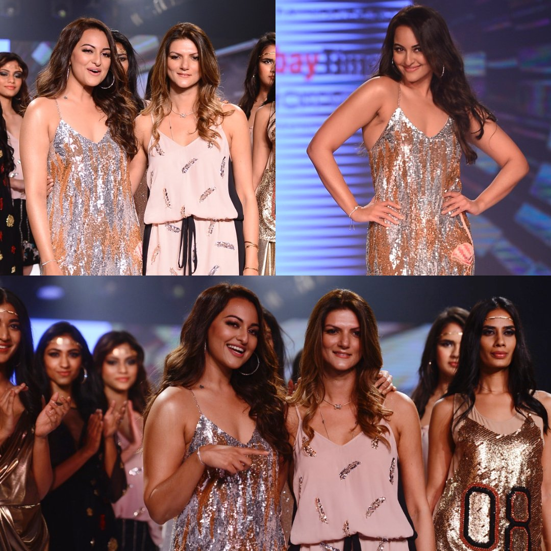 Sonakshi Sinha make heads turn as showstoppers for a fashion show