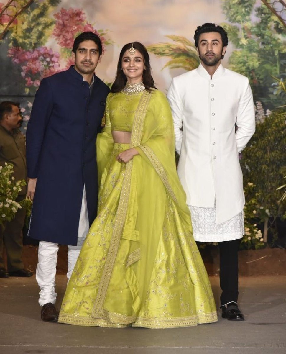 Alia Bhatt In Designer Lime Green Lehenga By Sabyasachi At Sonam