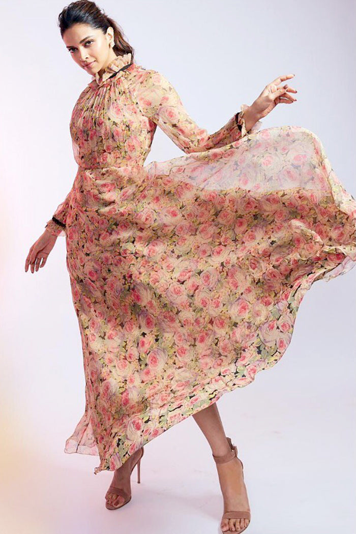 Deepika Padukone in Floral Printed Maxi Dress