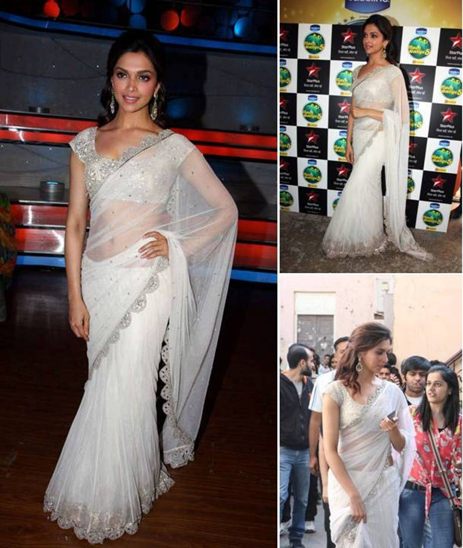 Deepika Padukone in white saree in nach baliye.