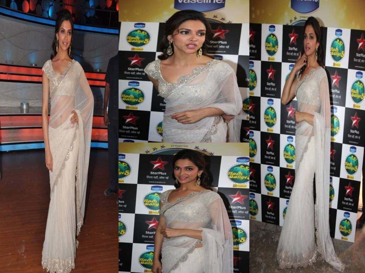 Deepika Padukone In White Saree In Nach Baliye