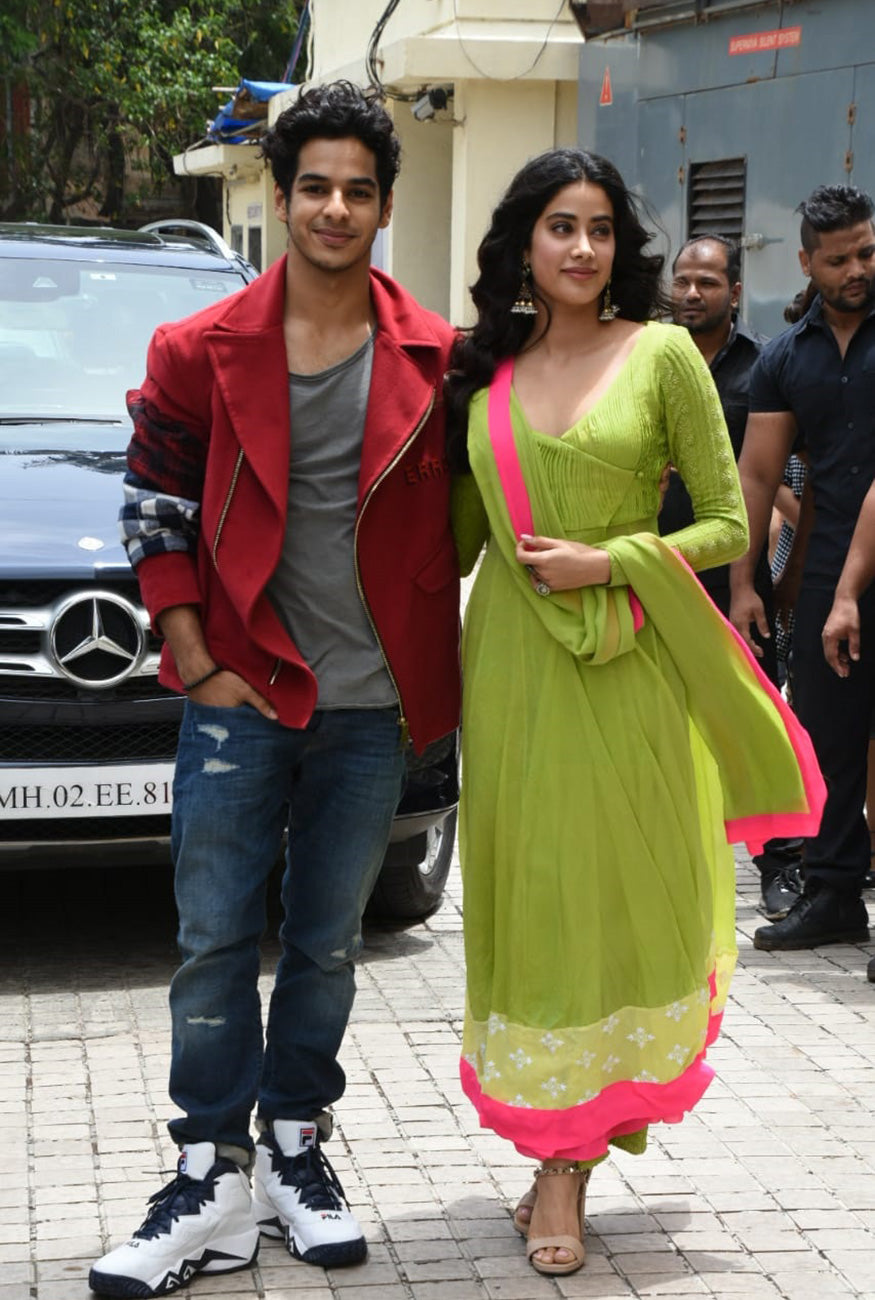 Janhvi-Kapoor-in-Manish-Malhotra's-Lime-Green-Anarkali-Suit